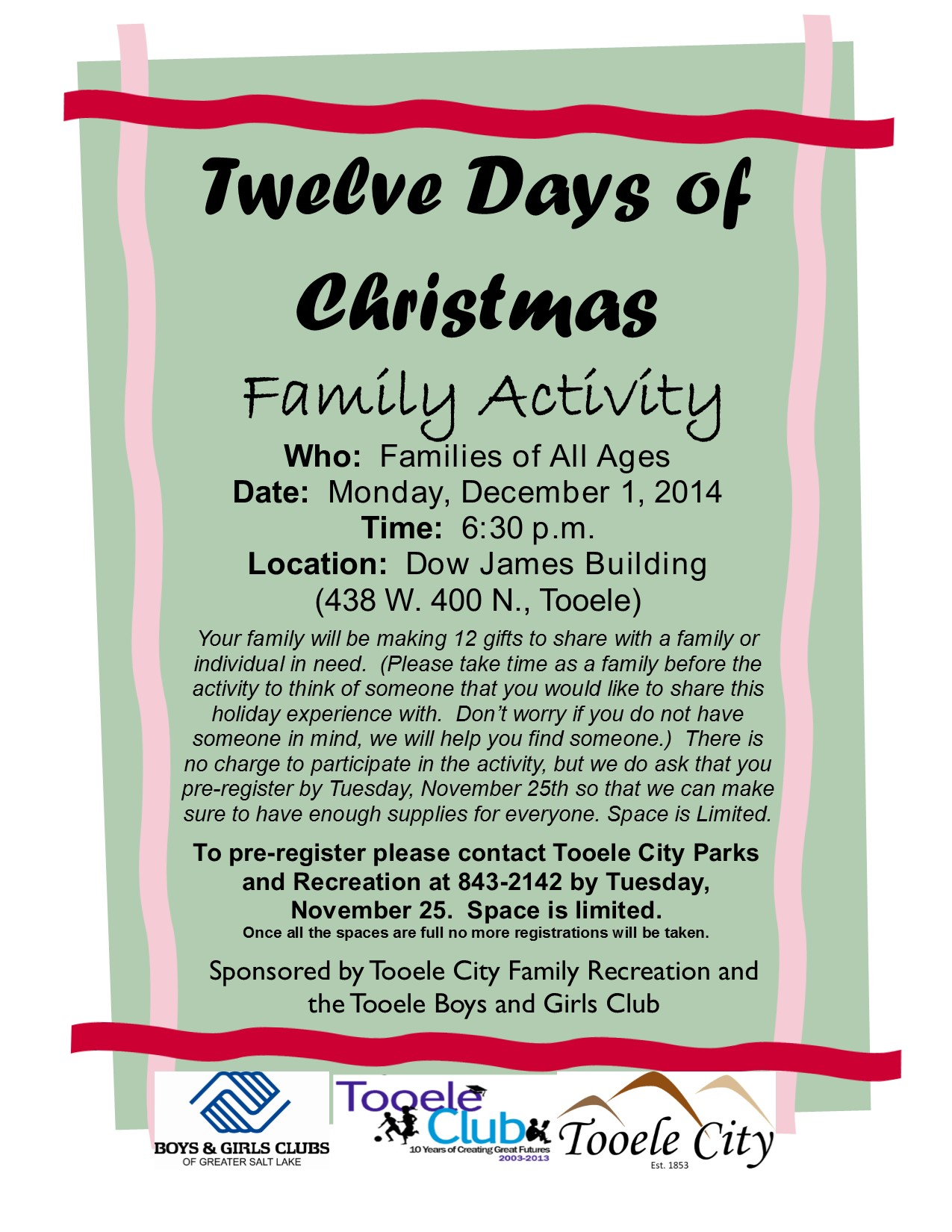 12 Days of Christmas Family Activity December 2014