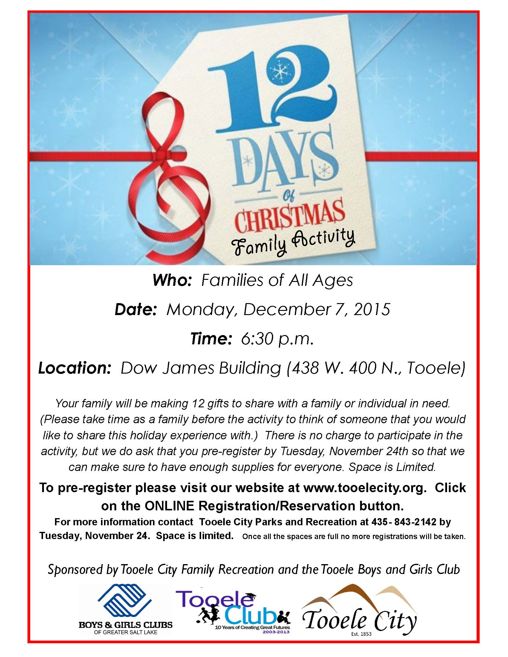 12 Days of Christmas Family Activity December 2015