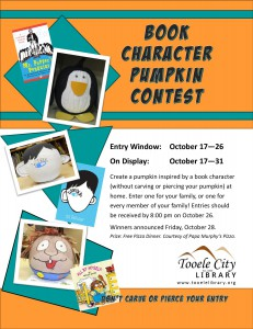 Book Character Pumpkin Contest @ Tooele City Library | Tooele | Utah | United States