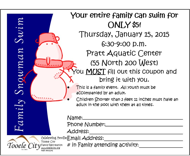 Snowman Swim 2015 Coupon