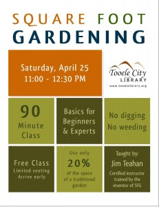 Free Square Foot Gardening Class Tooele City