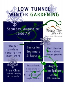 Free Low Tunnel Winter Gardening Class @ Tooele City Library | Tooele | Utah | United States
