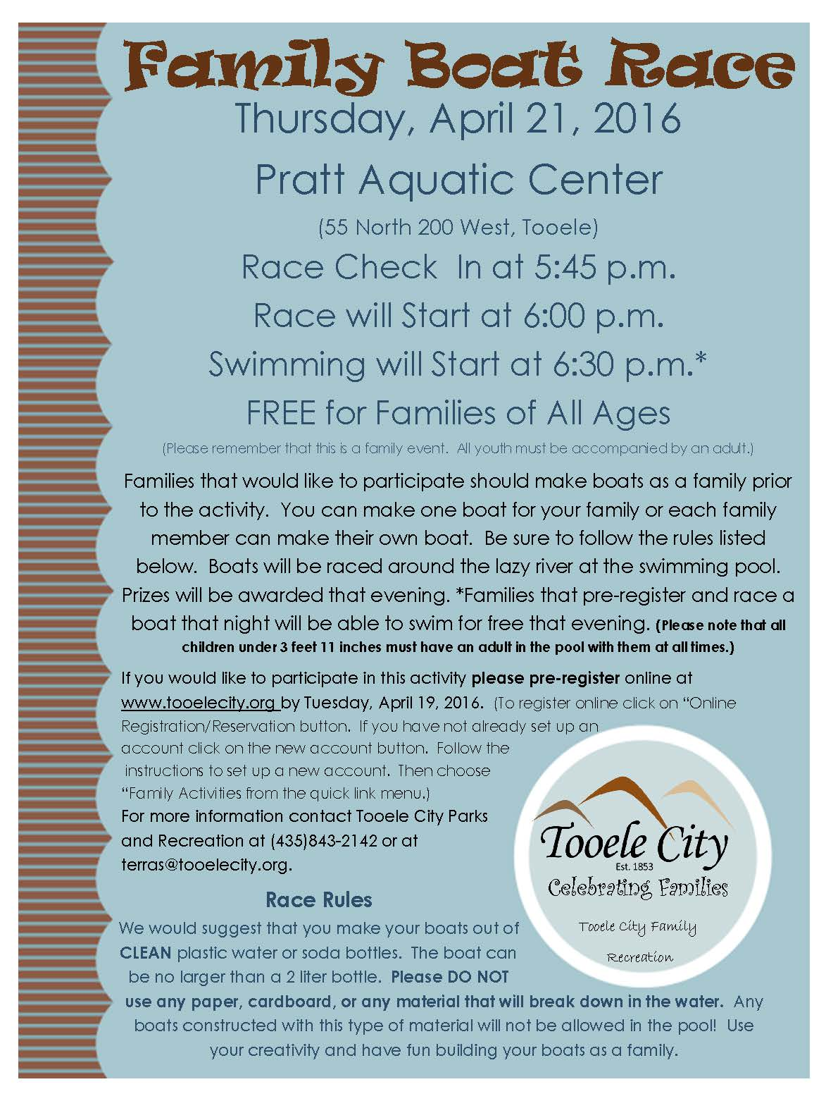 FREE Family Boat Race 2016 @ Pratt Aquatic Center | Tooele | Utah | United States
