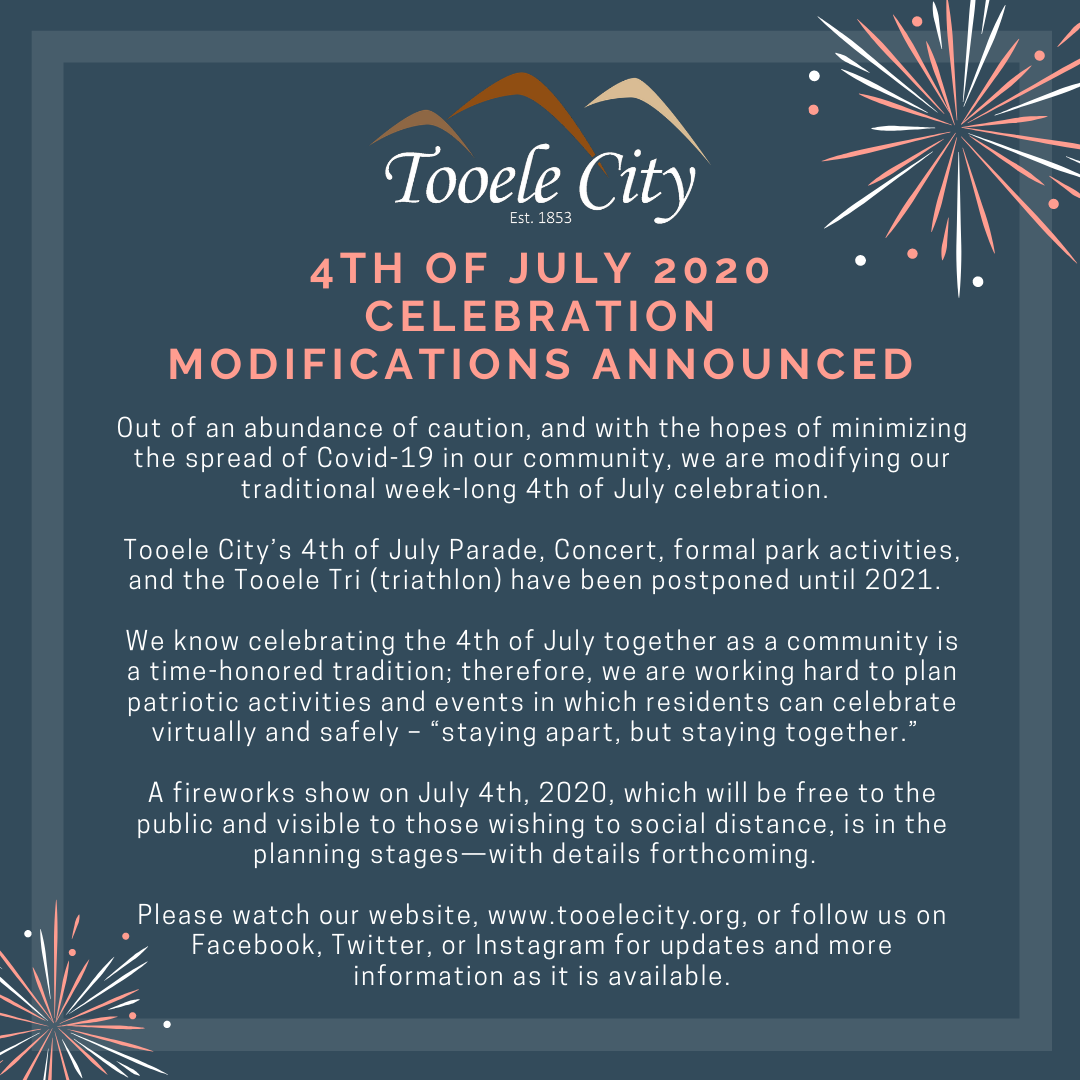 4th of July 2020 Modified Celebration Announcement