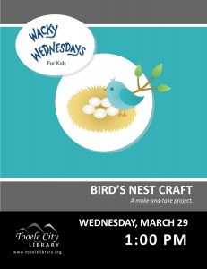 Wacky Wednesday: Bird's Nest Craft @ Tooele City Library | Tooele | Utah | United States