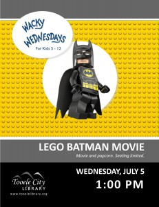 Wacky Wednesday: Lego Batman Movie @ Tooele City Library | Tooele | Utah | United States