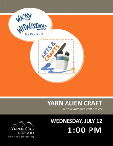 Wacky Wednesday: Yarn Alien Craft @ Tooele City Library | Tooele | Utah | United States