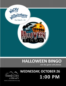 Wacky Wednesday!: Halloween Bingo @ Tooele City Library | Tooele | Utah | United States