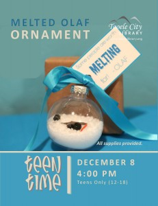 Teen Time: Melted Olaf Ornament @ Tooele City Library | Tooele | Utah | United States