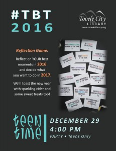 Teen Time: #TBT2016 Game @ Tooele City Library | Tooele | Utah | United States
