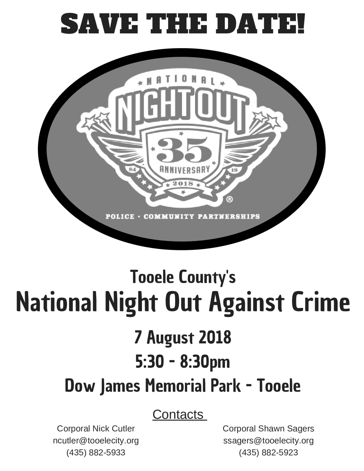 National Night Out Tooele 2018 @ Dow James Building | Tooele | Utah | United States