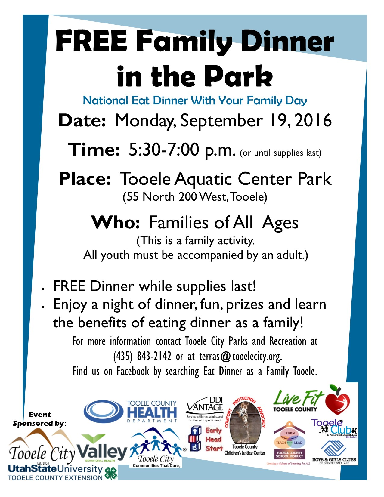 FREE Family Dinner in the Park 2016 @ Aquatic Center Park | Tooele | Utah | United States
