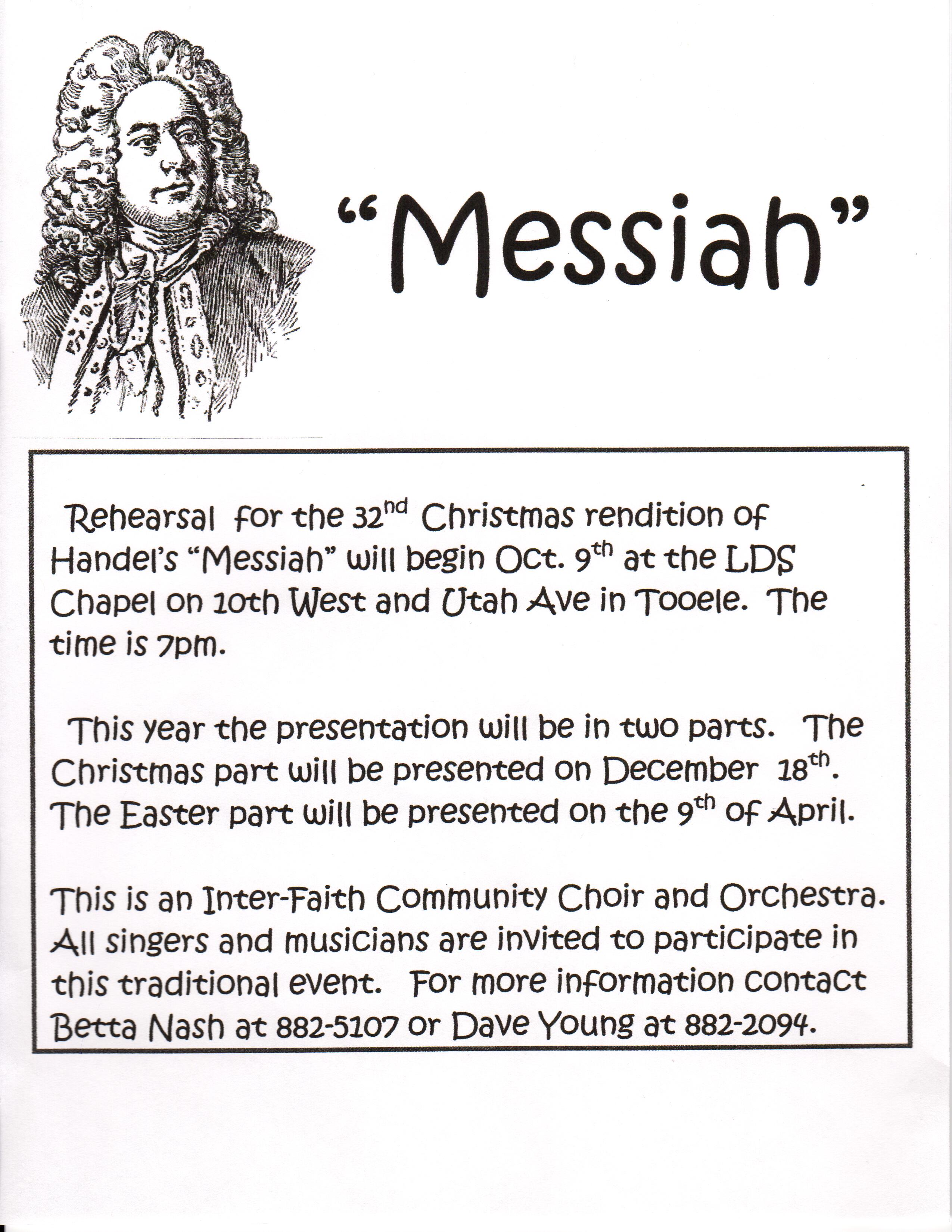 "Handel's ""Messiah"" Rehearsals Begin 2016 @ LDS Chapel 