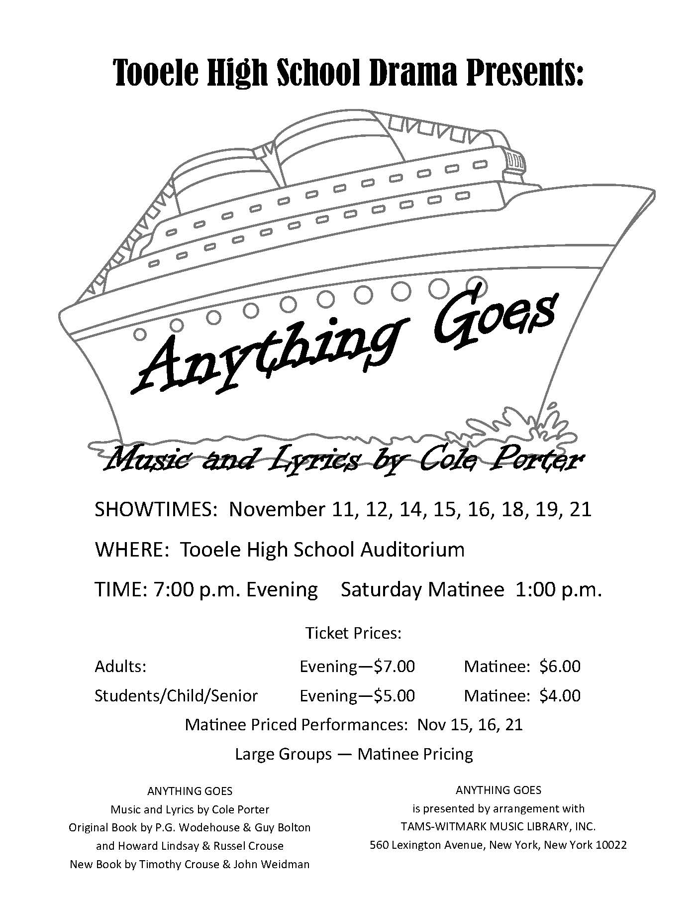 "T.H.S. Drama presents ""Anything Goes"" @ Tooele High School Auditorium 