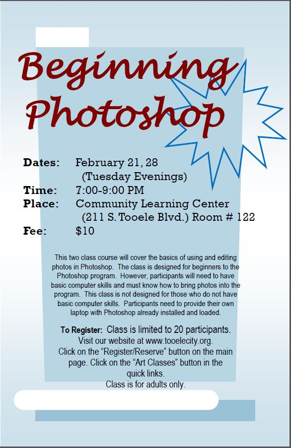Beginning Photoshop (February 2017) Class Begins @ Community Learning Center Room #122 | Tooele | Utah | United States