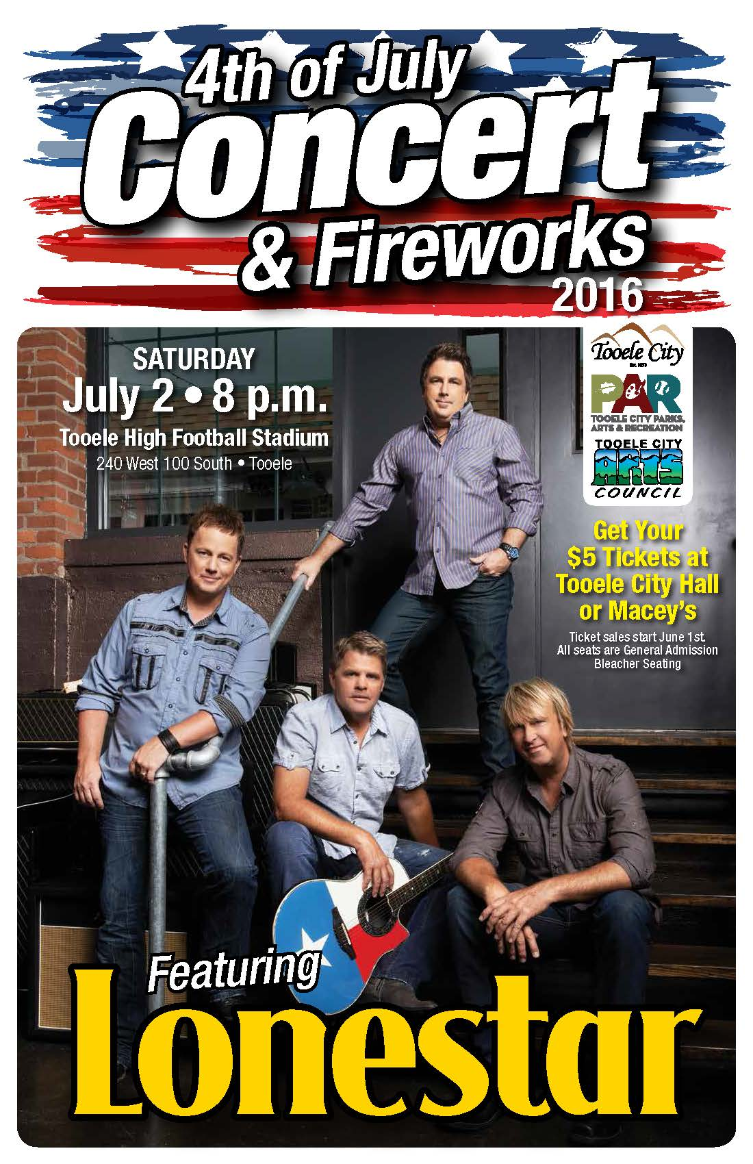 "4th of July ""Lonestar"" Concert & Fireworks! @ Tooele High School Football Field 