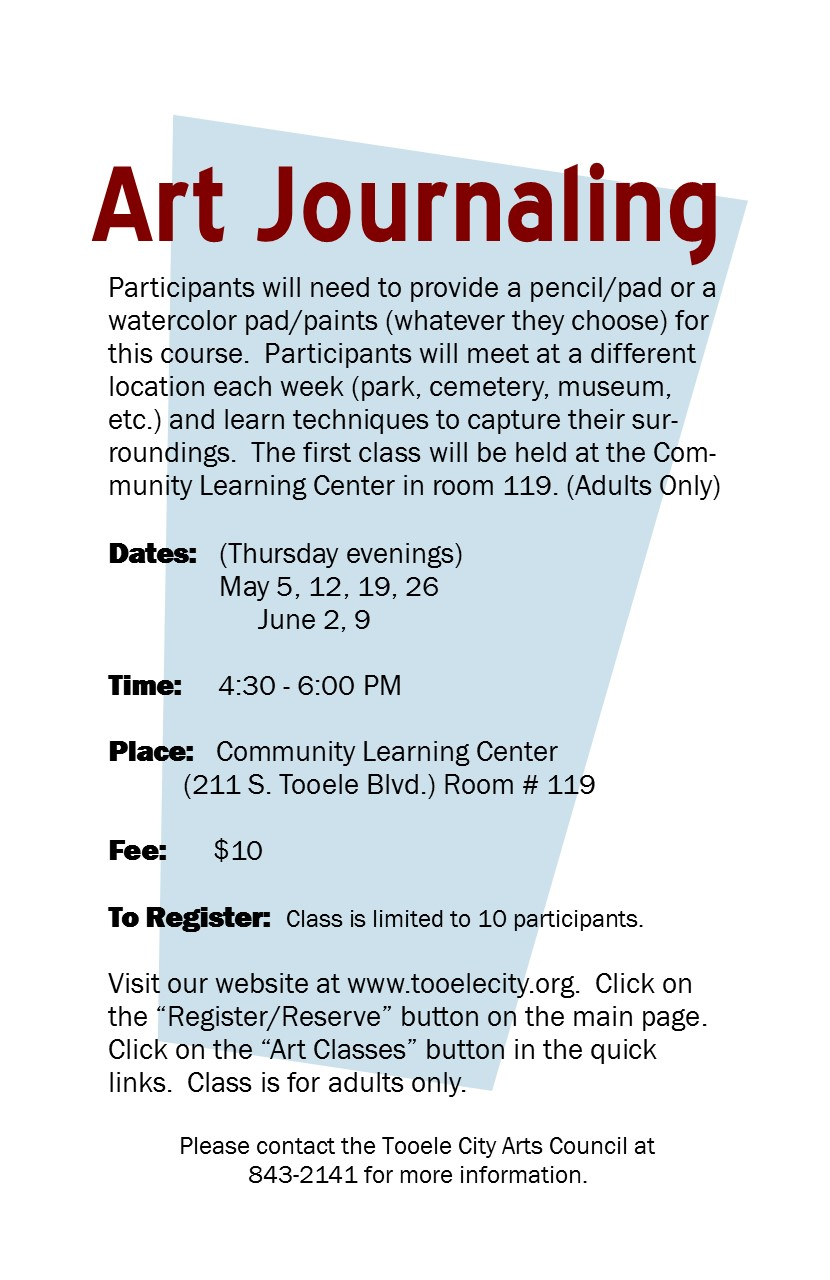 Art Journaling (Spring 2016) Class Begins @ Community Learning Center Room#119 | Tooele | Utah | United States