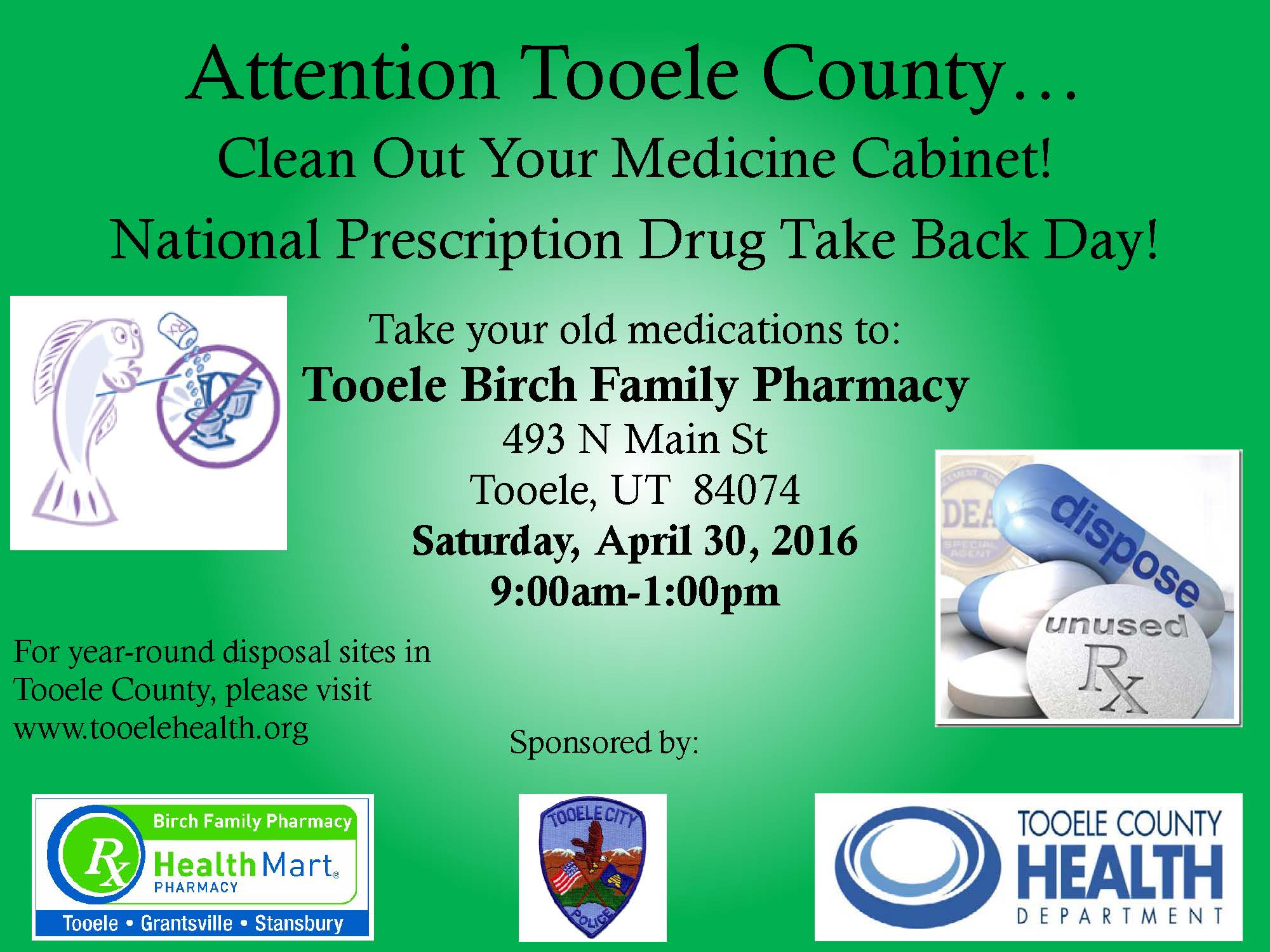National Prescription Drug Take Back Day 2016 @ Tooele Birch Family Pharmacy | Tooele | Utah | United States