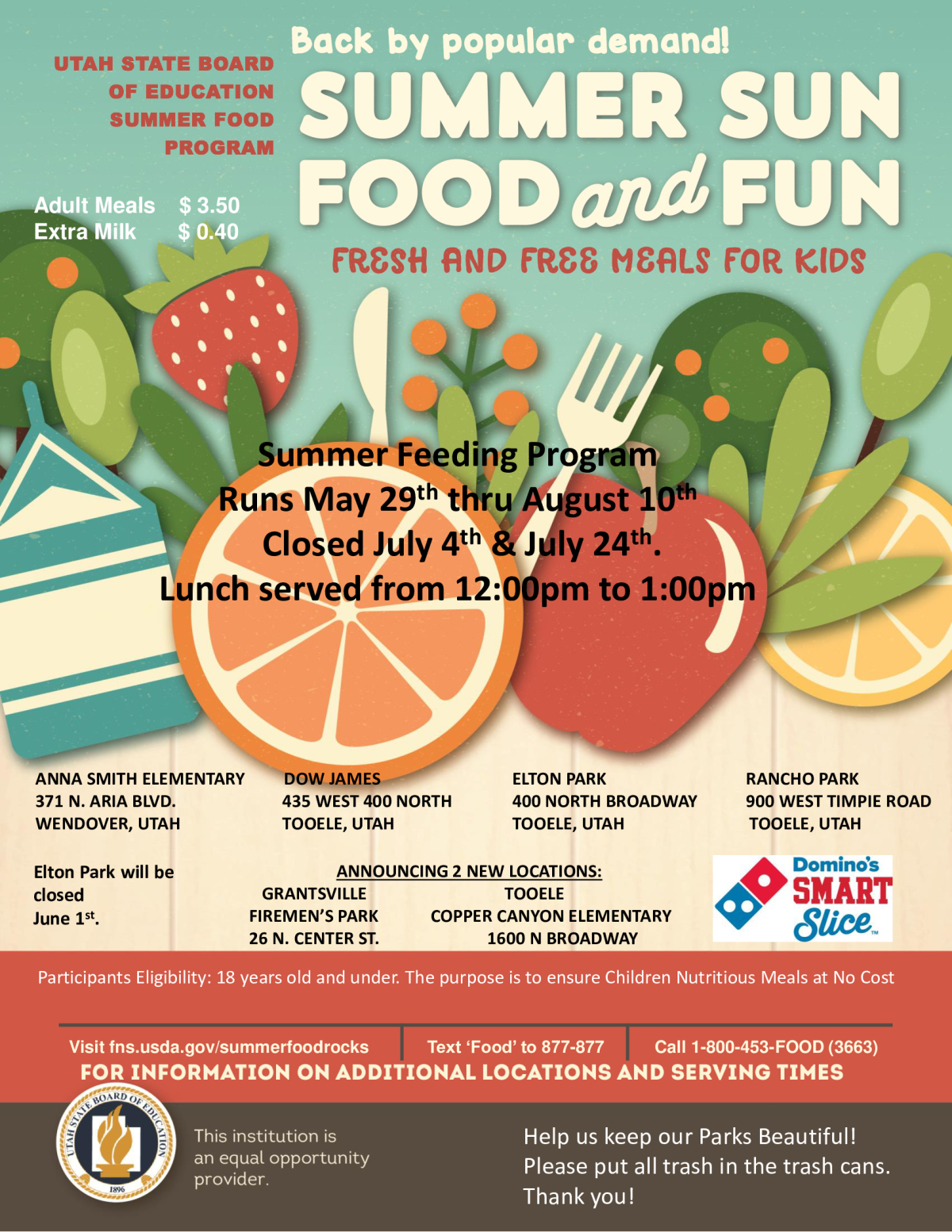 Summer Food Service Program (FREE LUNCH for KIDS) @ See locations listed on the flyer