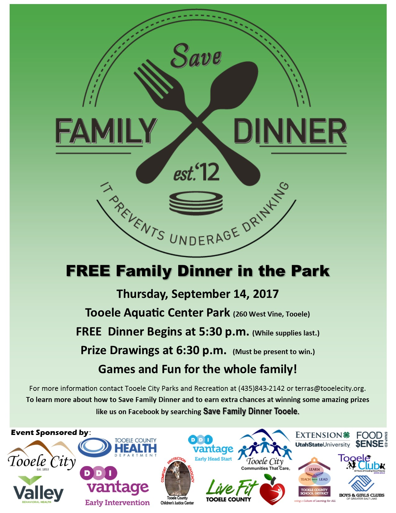 FREE Family Dinner in the Park 2017 @ Aquatic Center Park | Tooele | Utah | United States
