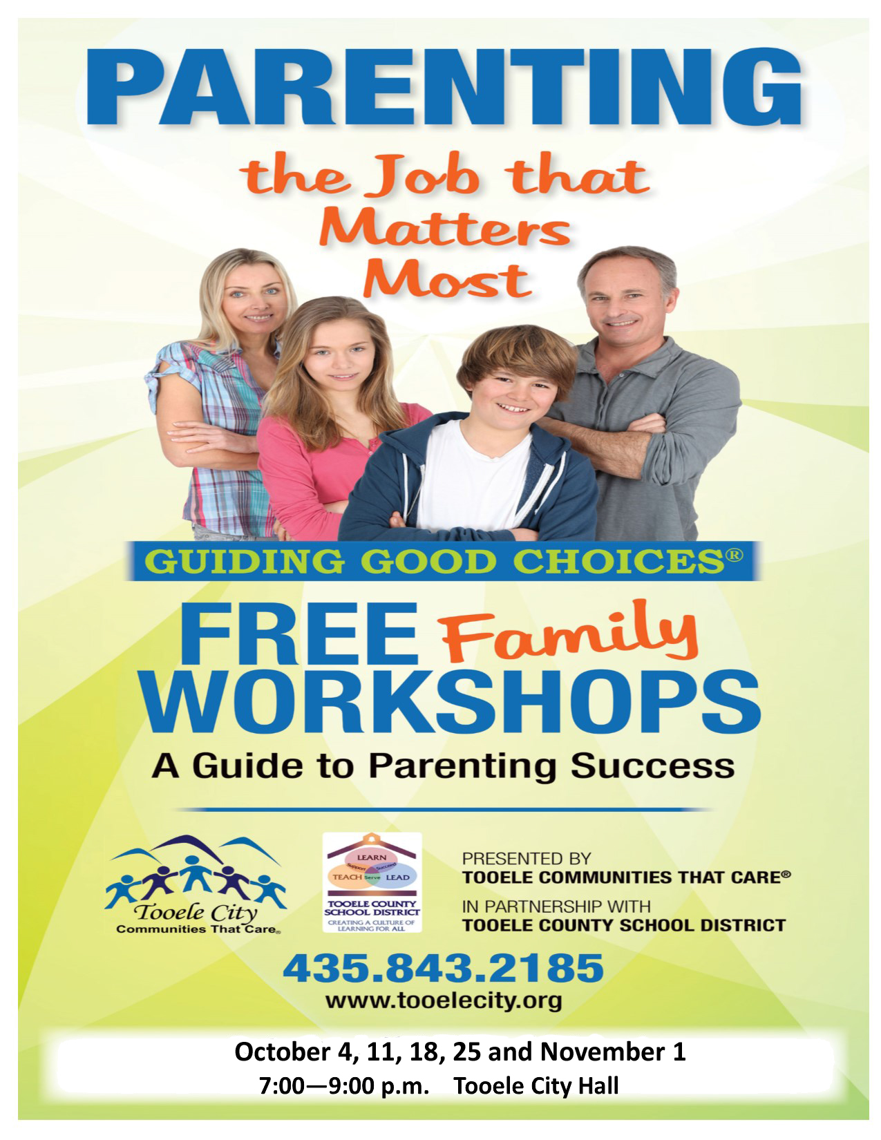 Guiding Good Choices FREE Parenting & Family Workshops (Tuesday Nights) @ Tooele City Hall | Tooele | Utah | United States