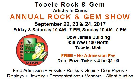 Tooele Gem & Mineral Show @ Dow James | Tooele | Utah | United States