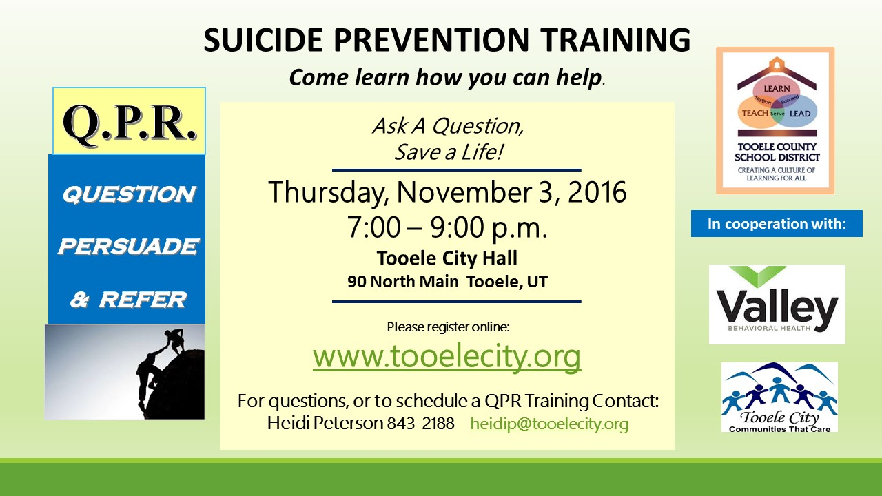 CANCELLED - Q.P.R. Suicide Prevention Training @ Tooele City Hall | Tooele | Utah | United States