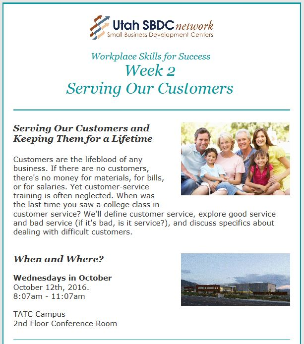 Workplace Skills for Success:  Week 2 Serving Our Customers @ TATC Tooele Campus 2nd Floor Boardroom | Tooele | Utah | United States