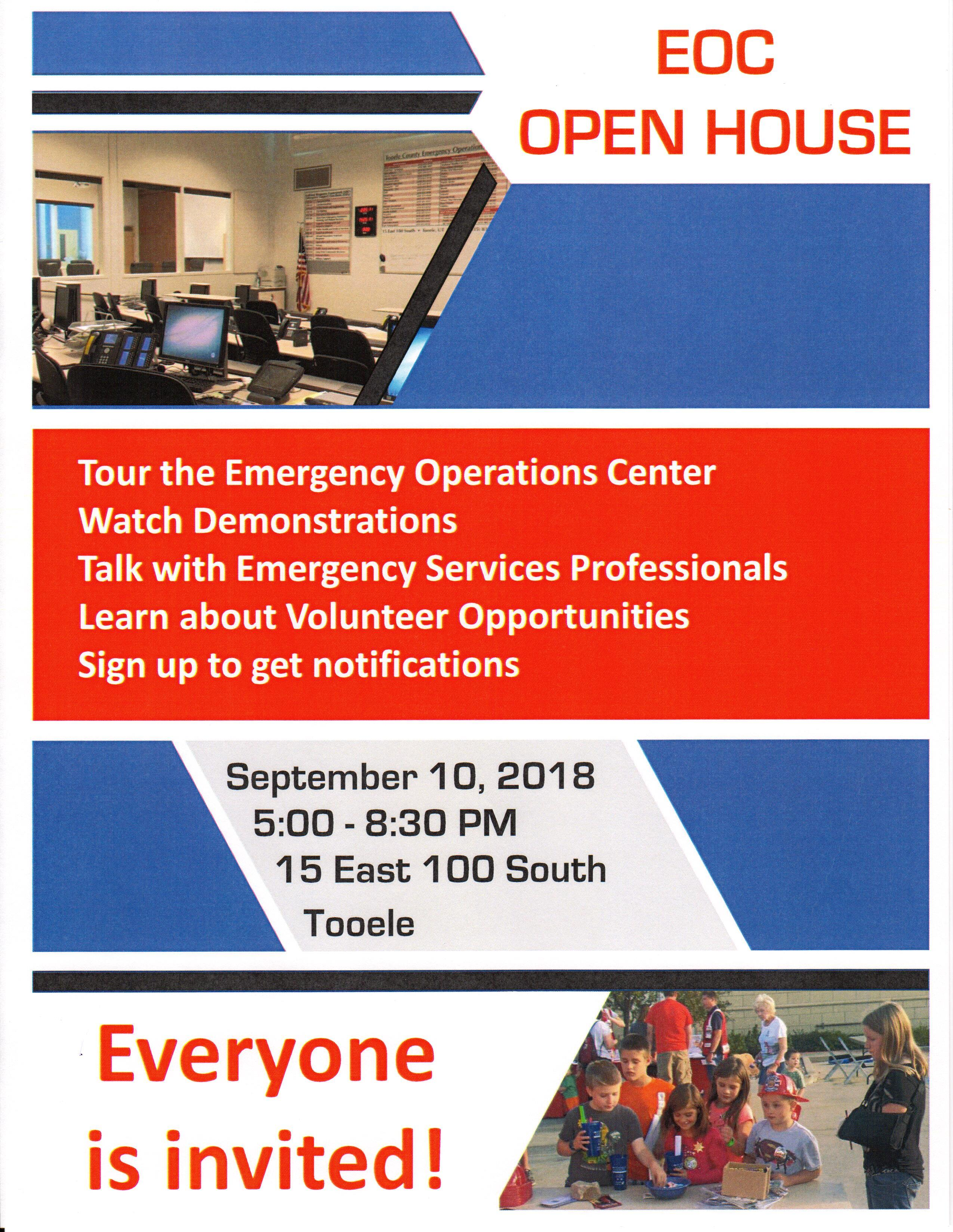 Emergency Operations Center (EOC) Open House @ Emergency Management Operations Center | Tooele | Utah | United States