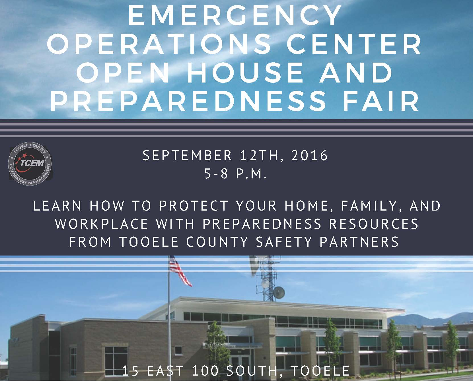 Emergency Operations Center Open House and Preparedness Fair @ Emergency Management Operations Center | Tooele | Utah | United States