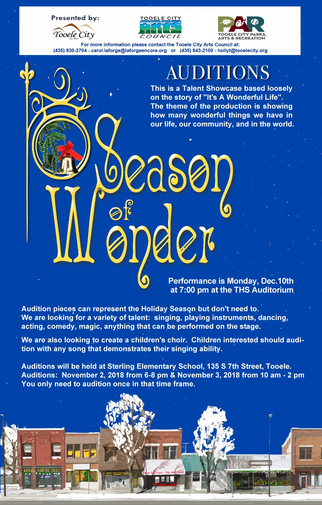 Open Auditions for 'Season of Wonder' @ Sterling Elementary School | Tooele | Utah | United States