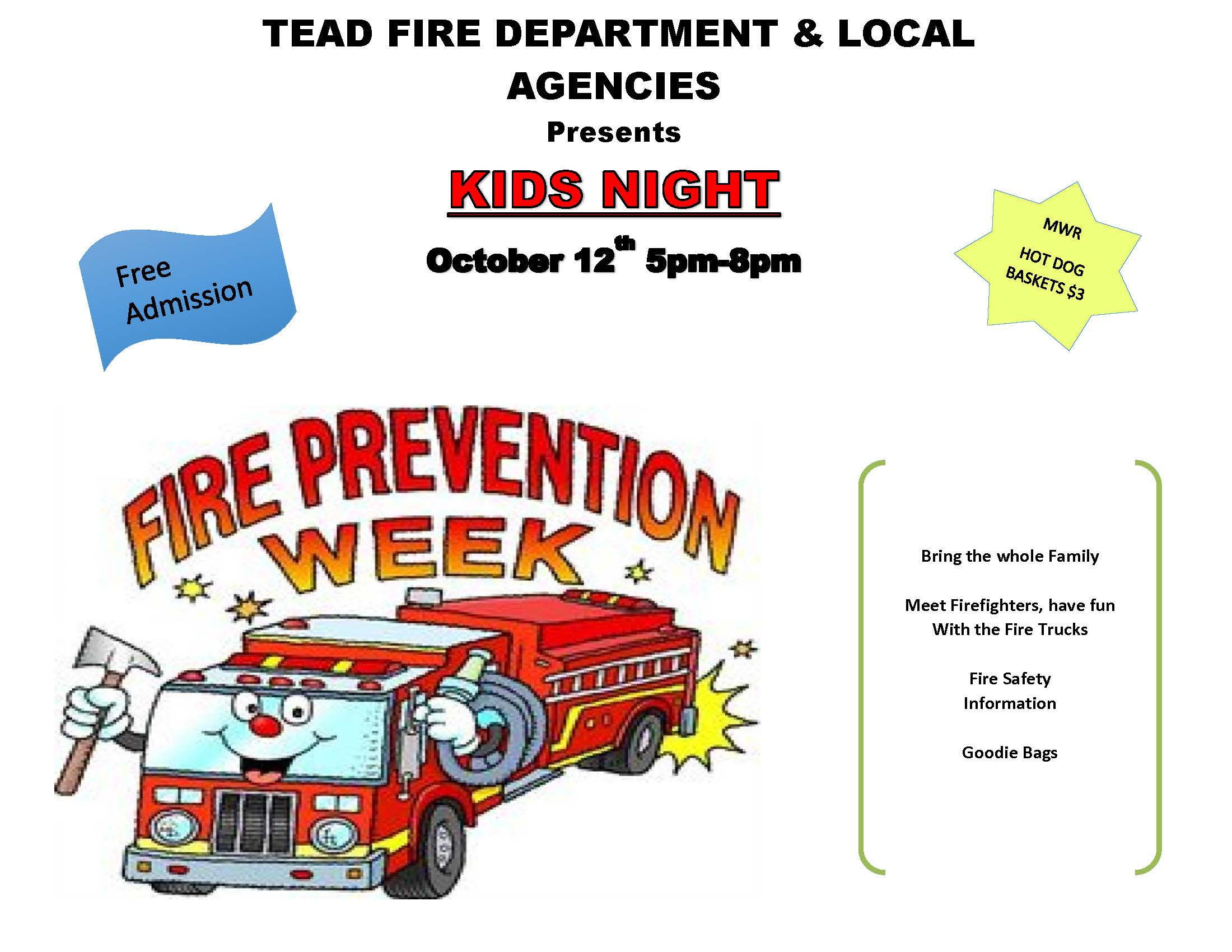 TEAD Fire Department KIDS NIGHT @ Eagle's Nest
