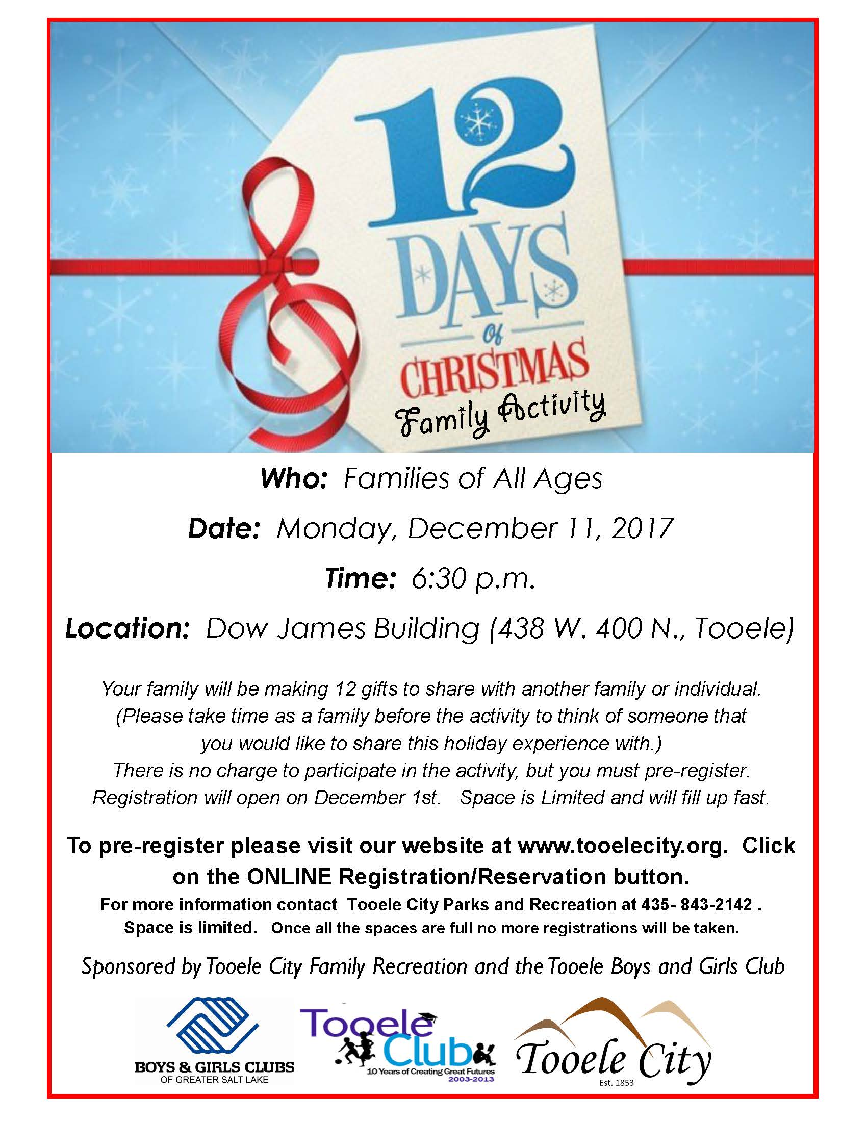 12 Days of Christmas - A FREE Family Event! @ Dow James | Tooele | Utah | United States