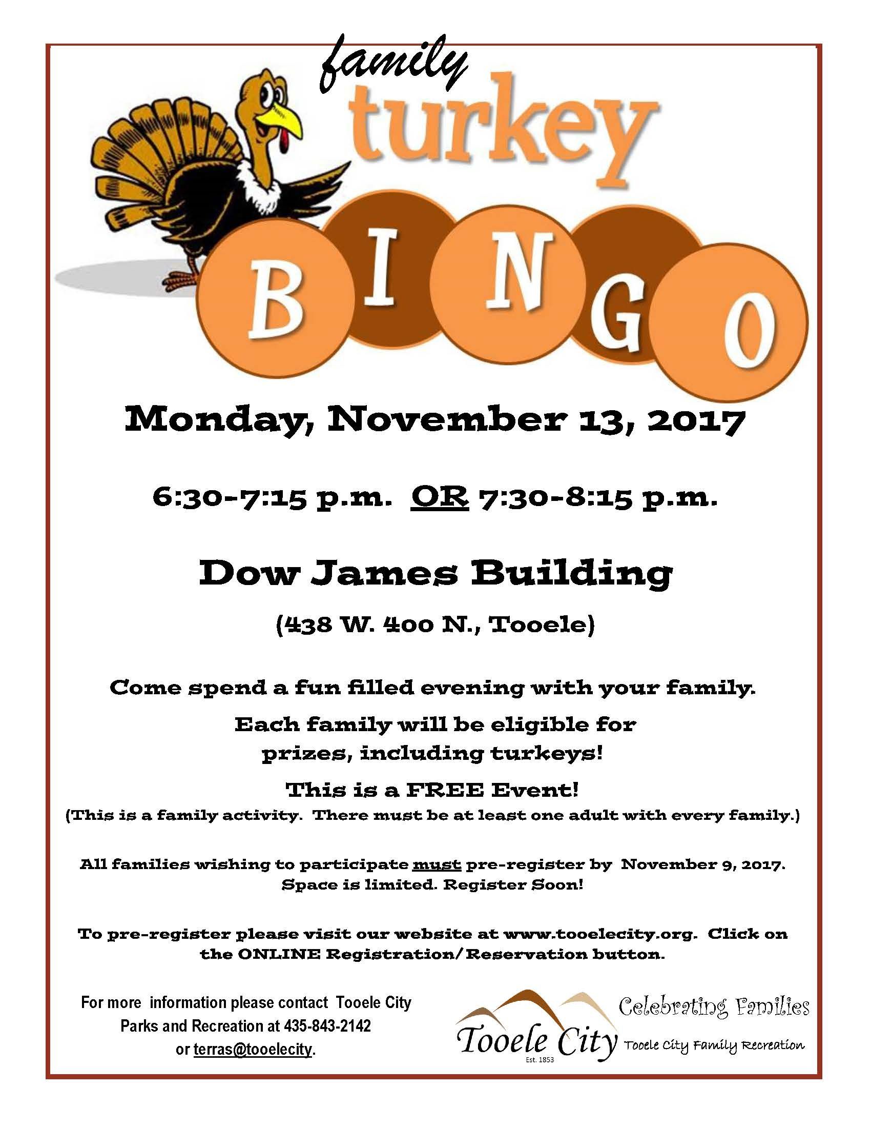 Turkey Bingo - A FREE Family Event! @ Dow James | Tooele | Utah | United States