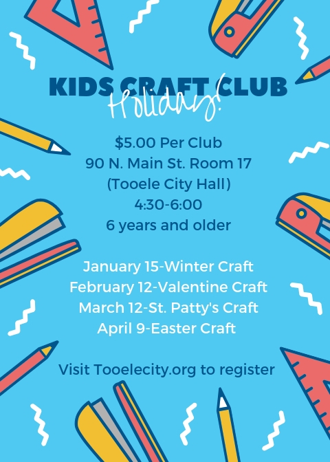 Kids Holiday Craft Club:  January - April 2019