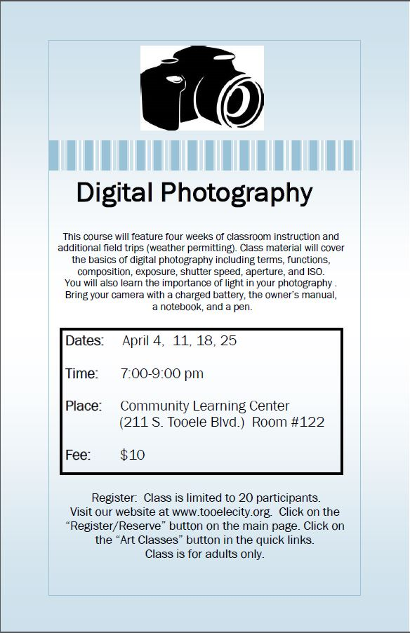 Digital Photography (Spring 2017) Class Begins @ Community Learning Center Room #122 | Tooele | Utah | United States