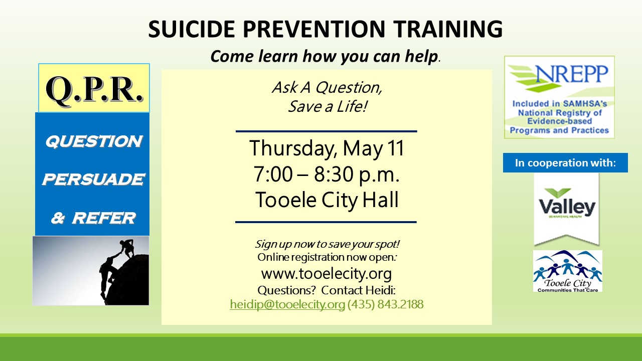 Q.P.R. Suicide Prevention Training @ Tooele City Hall | Tooele | Utah | United States