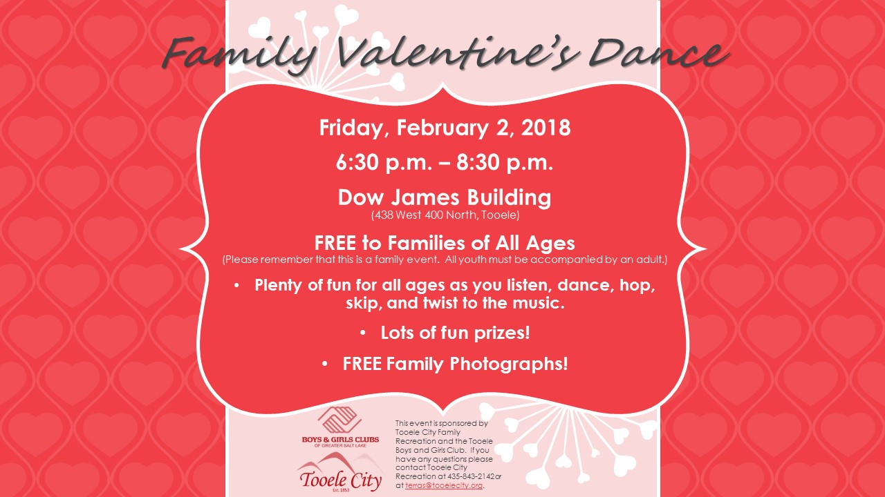 FREE Family Valentine Dance 2018 @ Dow James Building | Tooele | Utah | United States