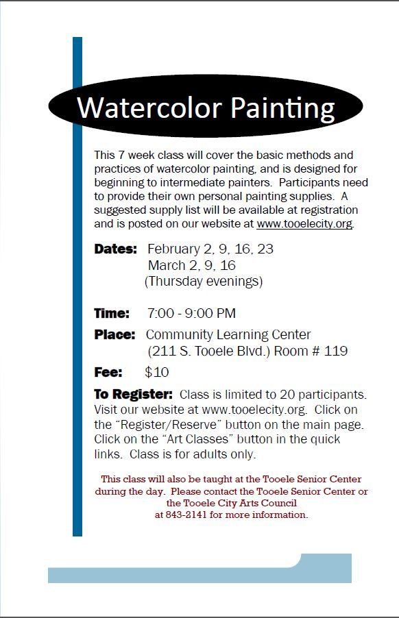 Watercolor Painting (Spring 2017) Class Begins @ Community Learning Center Room #119 | Tooele | Utah | United States