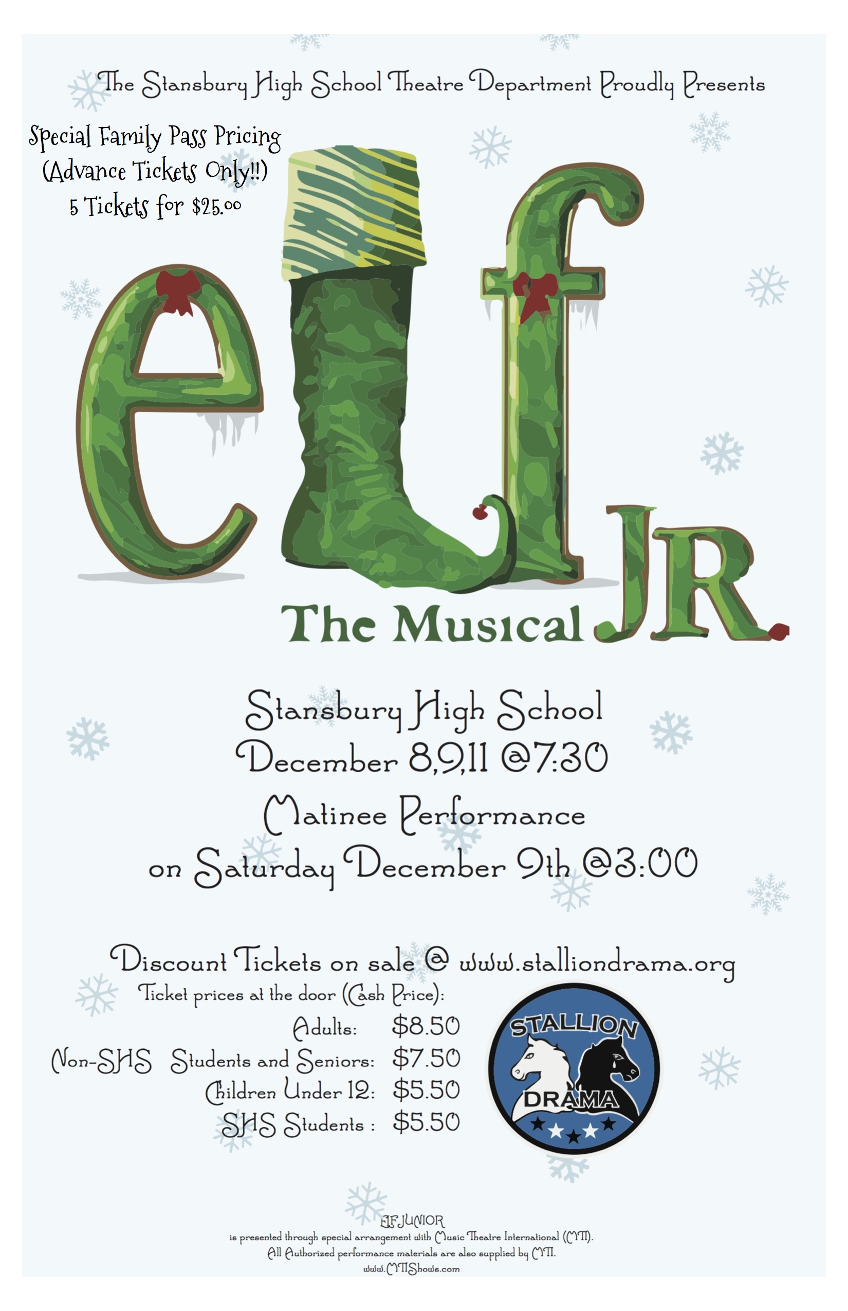 "S.H.S. Drama presents ""ELF Jr. The Musical"" @ Stansbury High School Auditorium 