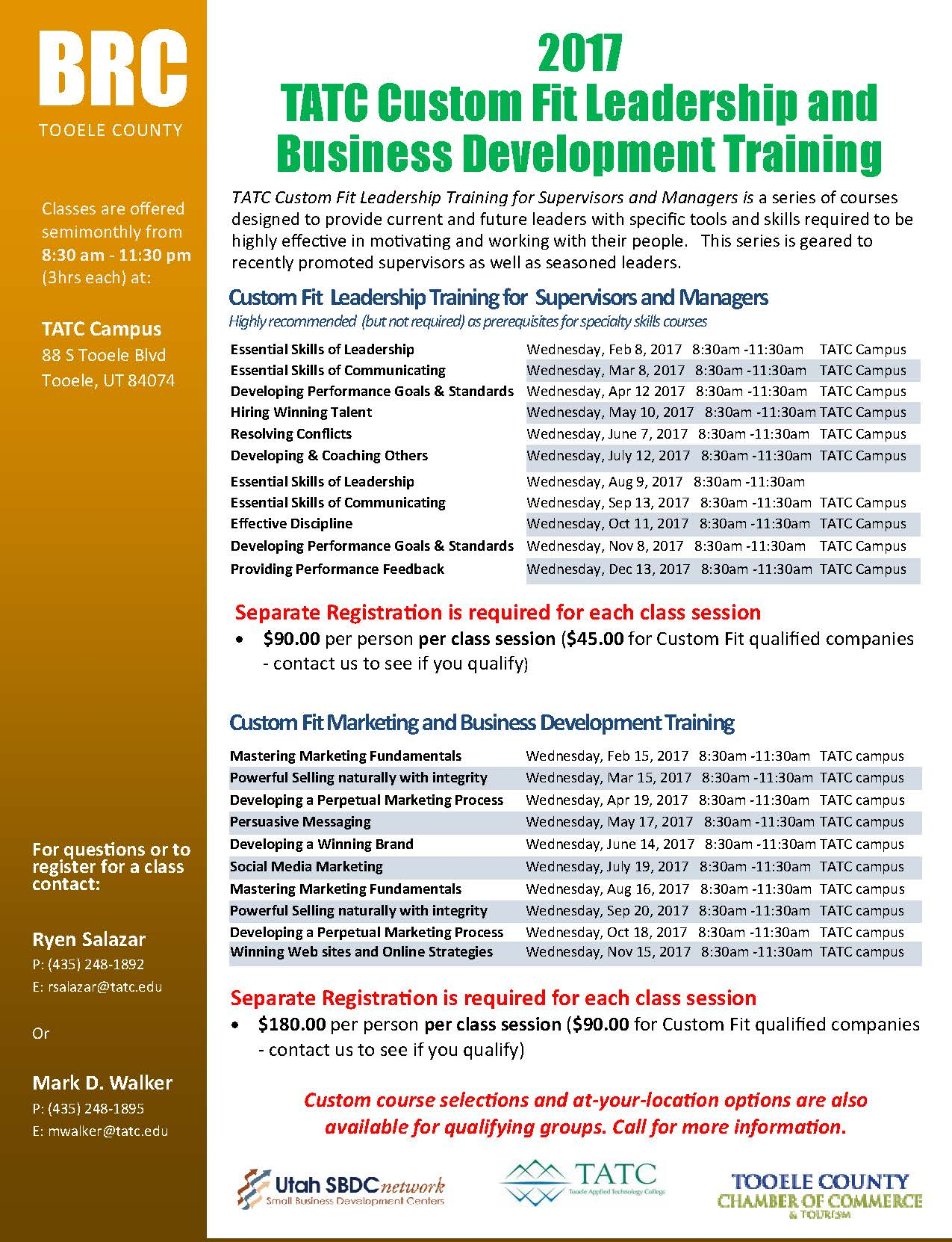 TATC Custom Fit Marketing and Business Development Training @ TATC | Tooele | Utah | United States