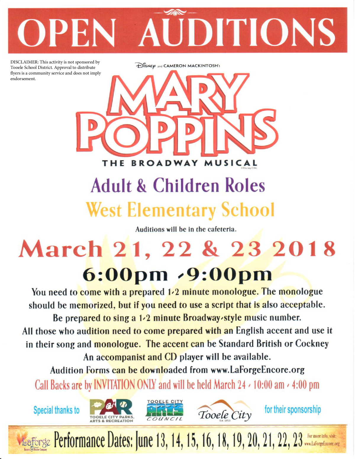 Mary Poppins Open Auditions 2018