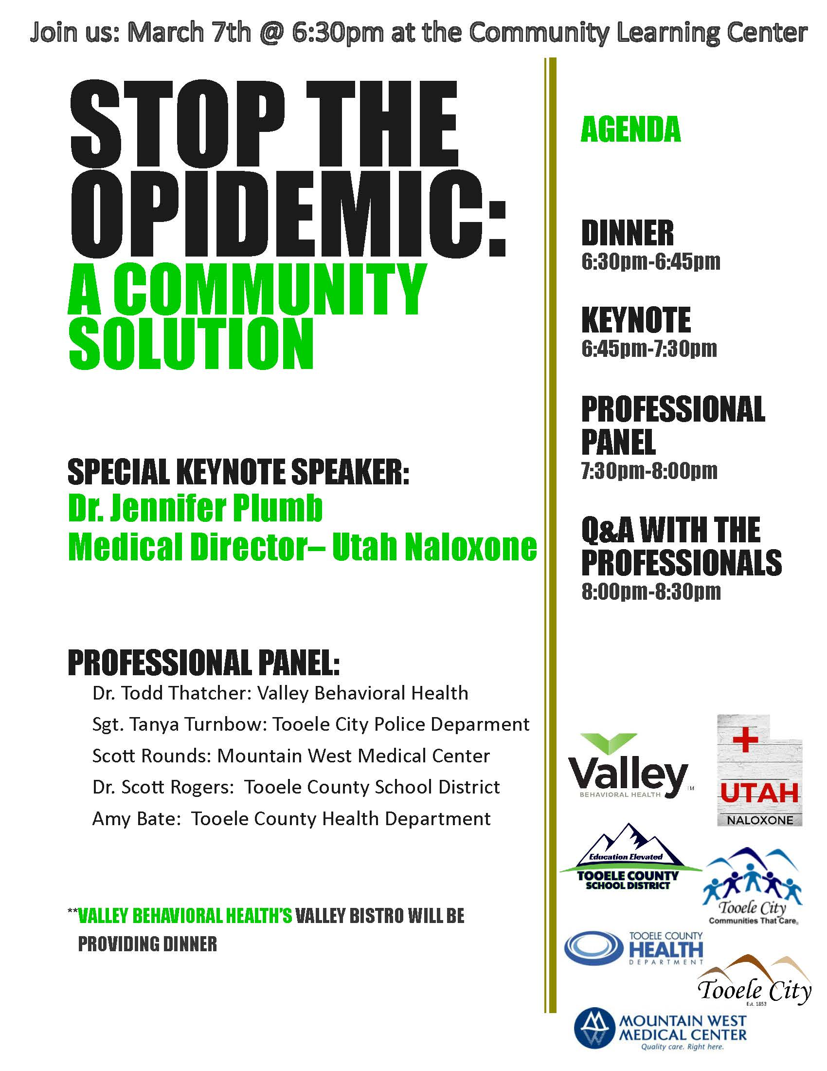 Stop the Opidemic:  A Community Solution @ Community Learning Center Room | Tooele | Utah | United States