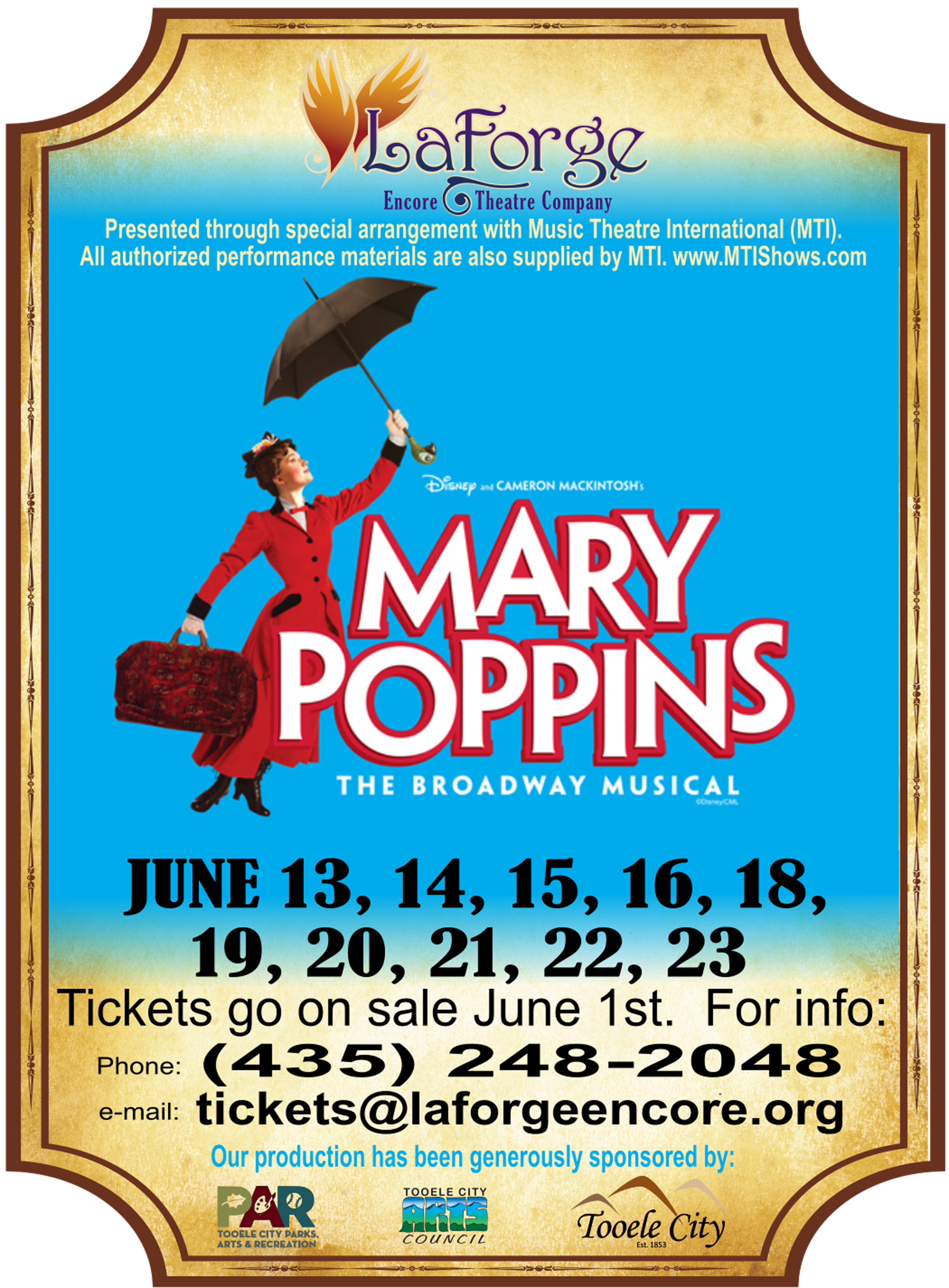 LaForge Encore Theatre presents 'Mary Poppins' @ Tooele High School Auditorium | Tooele | Utah | United States