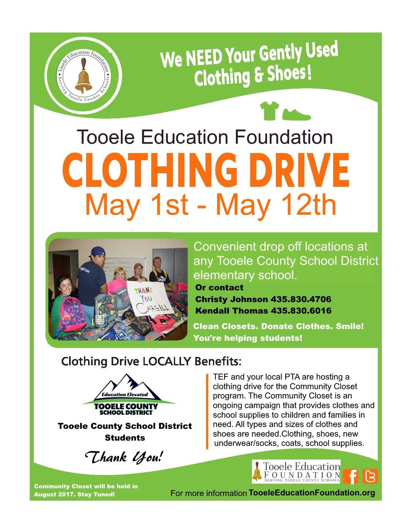 Tooele Education Foundation Clothing Drive 2017