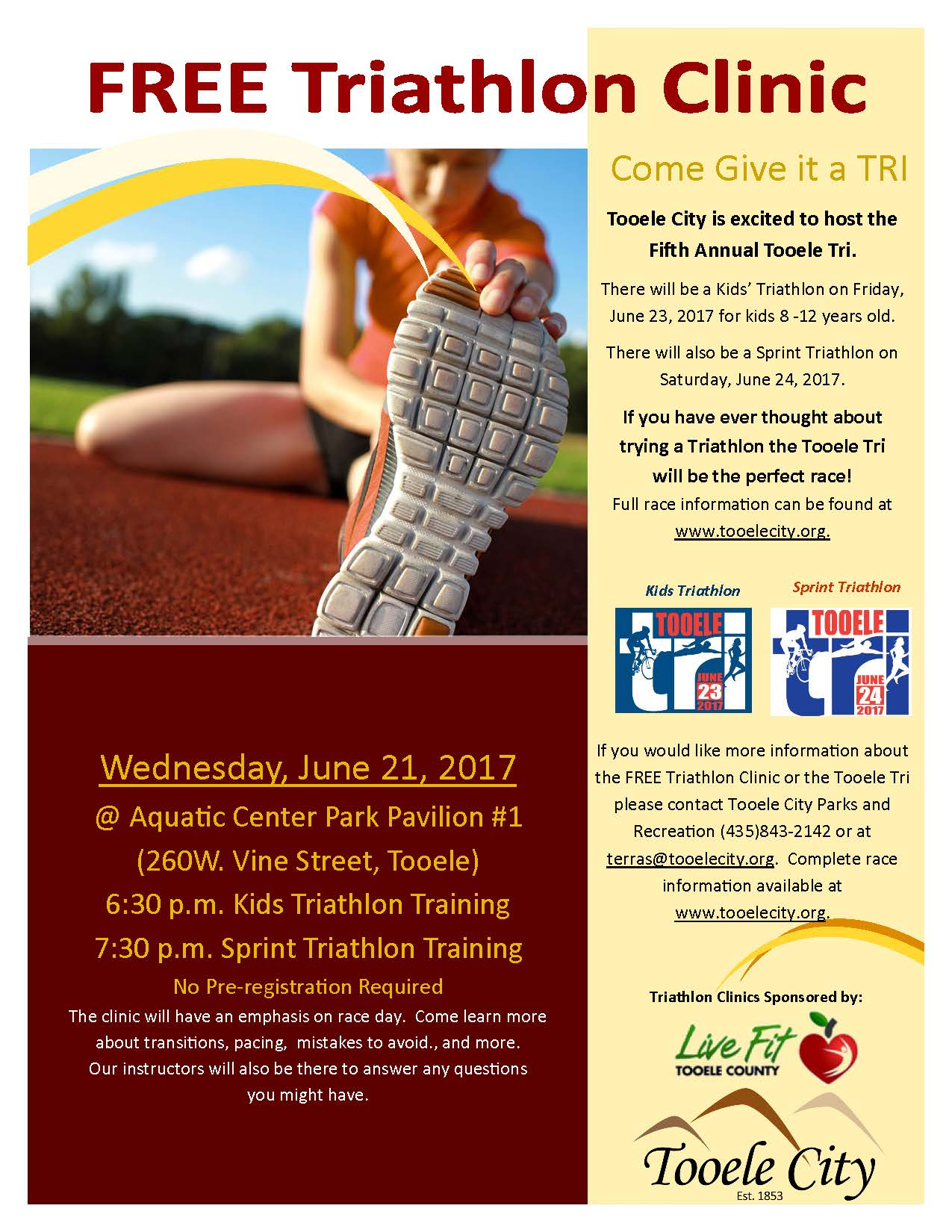 Free KIDS Triathlon Clinic June 2017 @ Aquatic Center Park Pavilion #1 | Tooele | Utah | United States