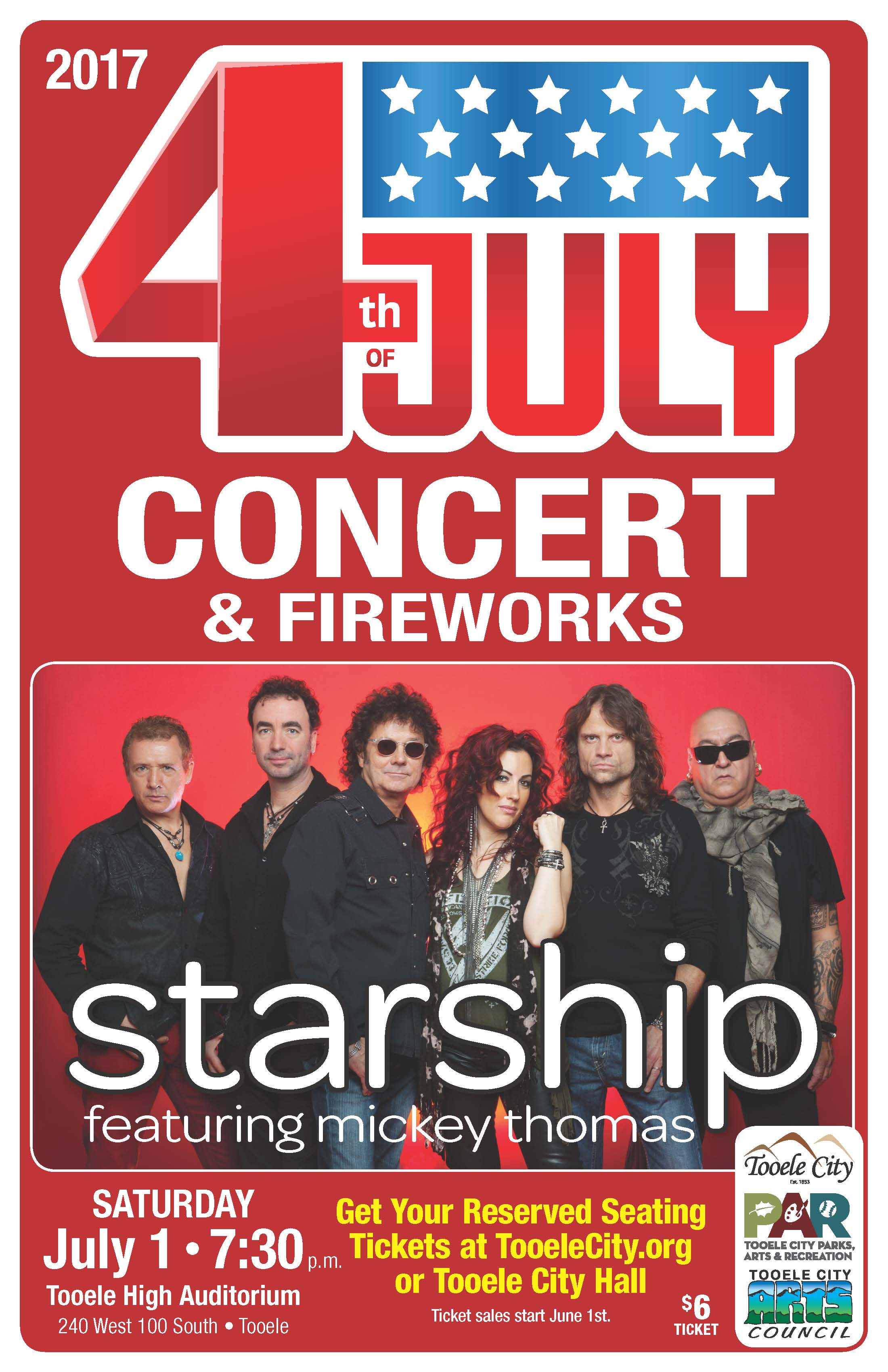 "4th of July ""STARSHIP featuring Mickey Thomas"" Concert & Fireworks! @ Tooele High School Auditorium 