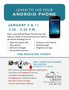Android Phone Essentials Part 1 (Adults) @ Tooele City Library | Tooele | Utah | United States