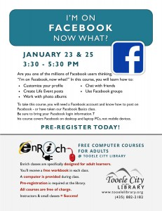Free Class: I'm on Facebook, Now What? Part 2 @ Tooele City Library | Tooele | Utah | United States