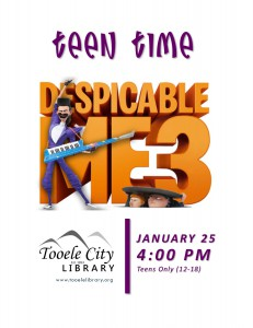 Teen Time: Despicable Me 3 @ Tooele City Library   Tooele   Utah   United States